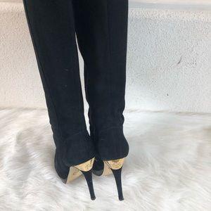 Michael Kors black suede gold logo boots 6.5